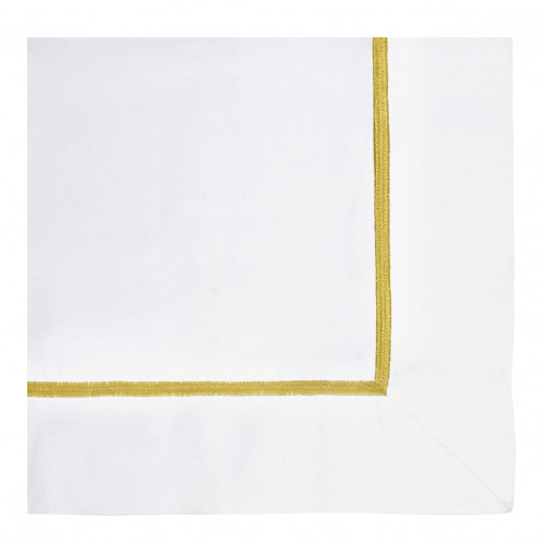 Taie d'oreiller JANE blanc brodé safran - 65 x 65 cm